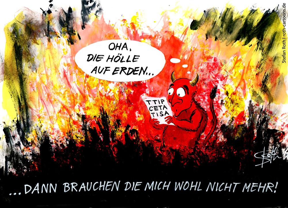 TTIP-Cartoon - Teufel in der Hölle