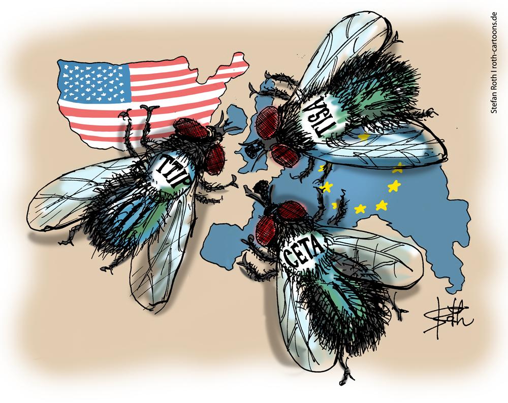 TTIP TIAS CETA -CArtoon Karikatur als schmeißfliegen