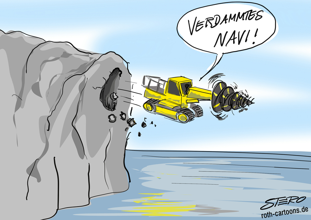 CArtoon: Tunnelfräse stürzt ins Meer