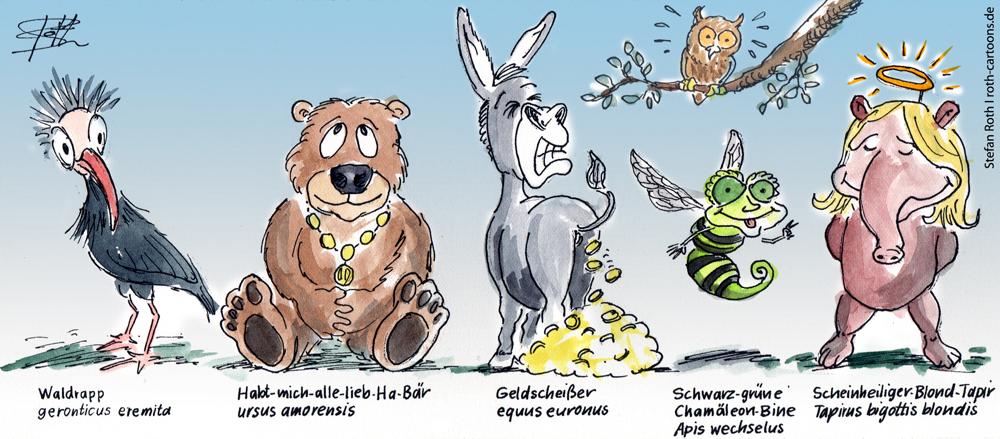 Karikatur Wolpertinger und Fantasiewesen