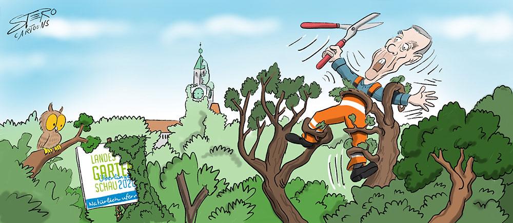 Cartoon-Karikatur: Landesgartenschau Ufergestaltung in Überlingen