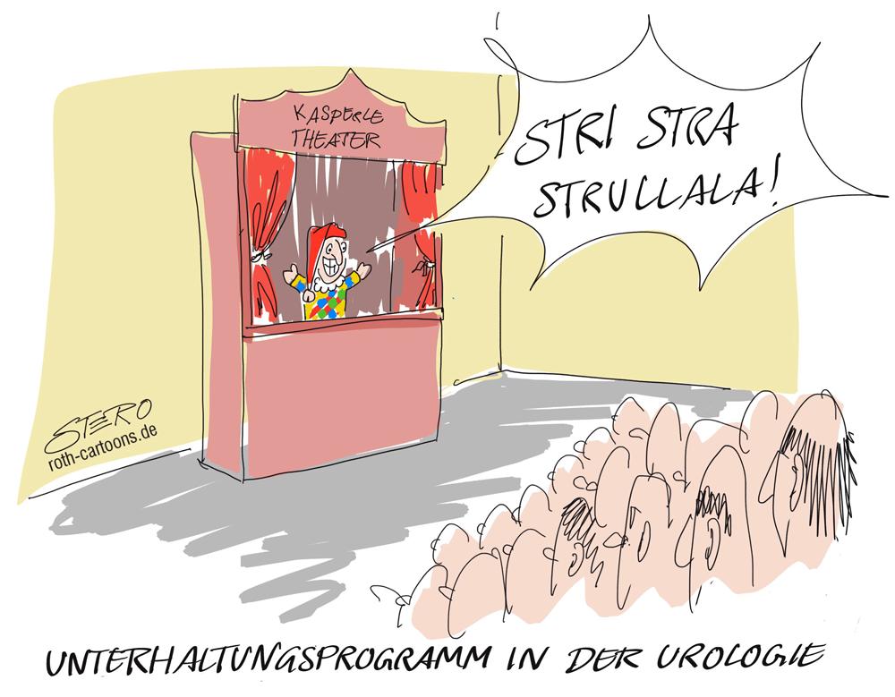 Cartoon Kasperletheater in der Urologie