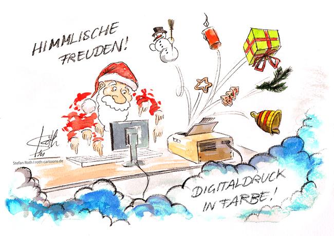 Weihnachtsmann am Computer