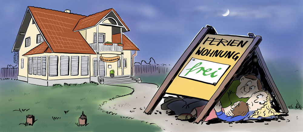 Cartoon zu kommunalem Sozialwohnungsbau