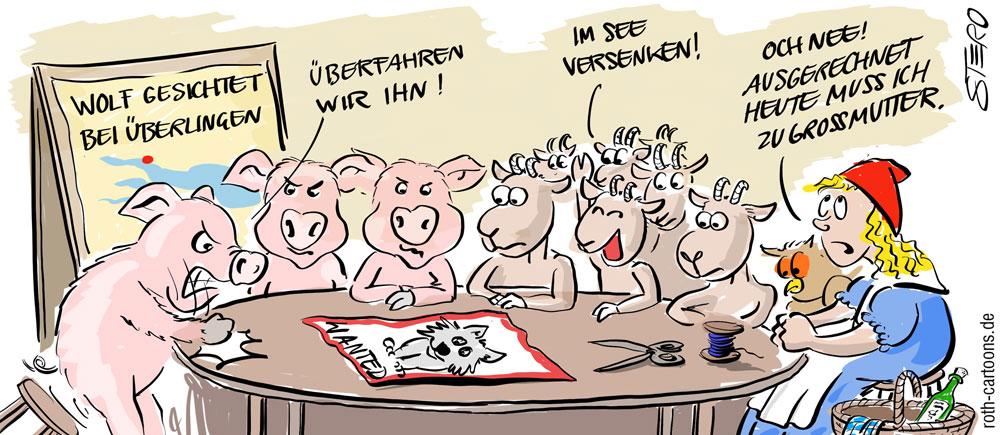 Cartoon-Karikatur-Comic-Wolfsichtung in Überlingen