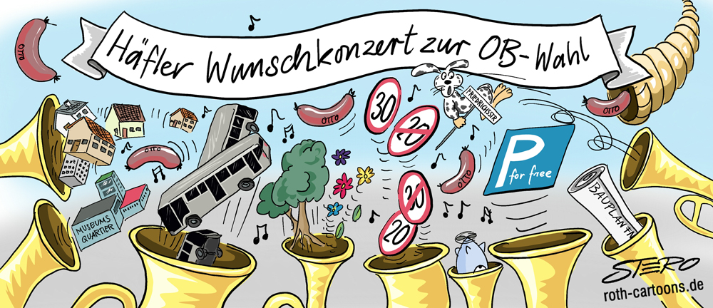 Cartoon-Karikatur-Wunschkonzert