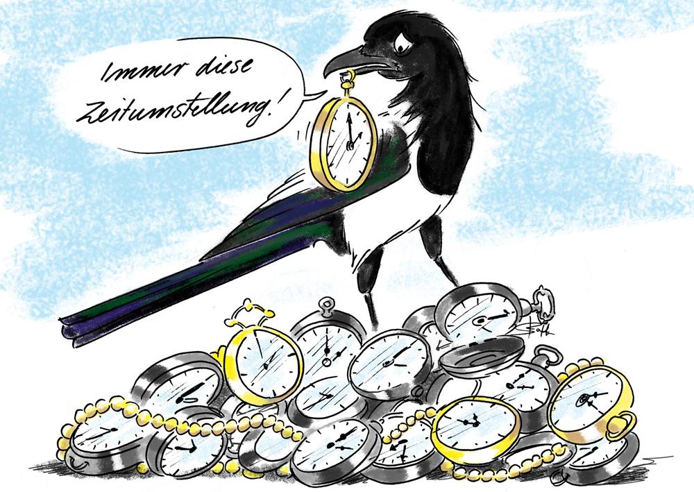 Elster jammert über die Zeitumstellung