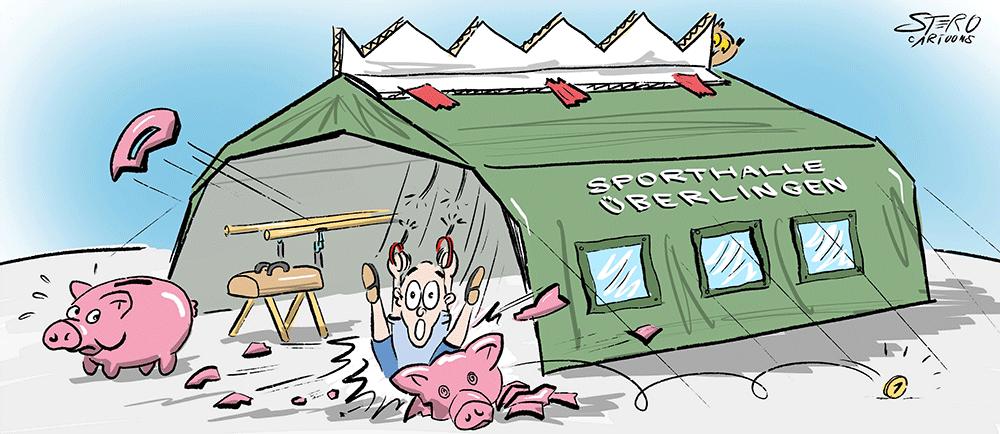 Sporthalle in einem Großzelt aus Finanzierungsgründen mangels Kapital