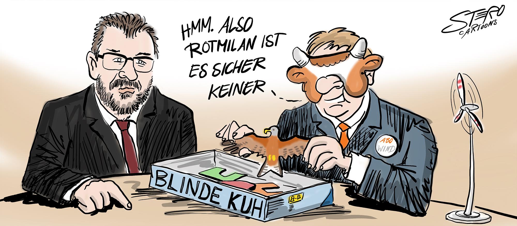 Cartoon-Karikatur Blinde Kuh Windkraft