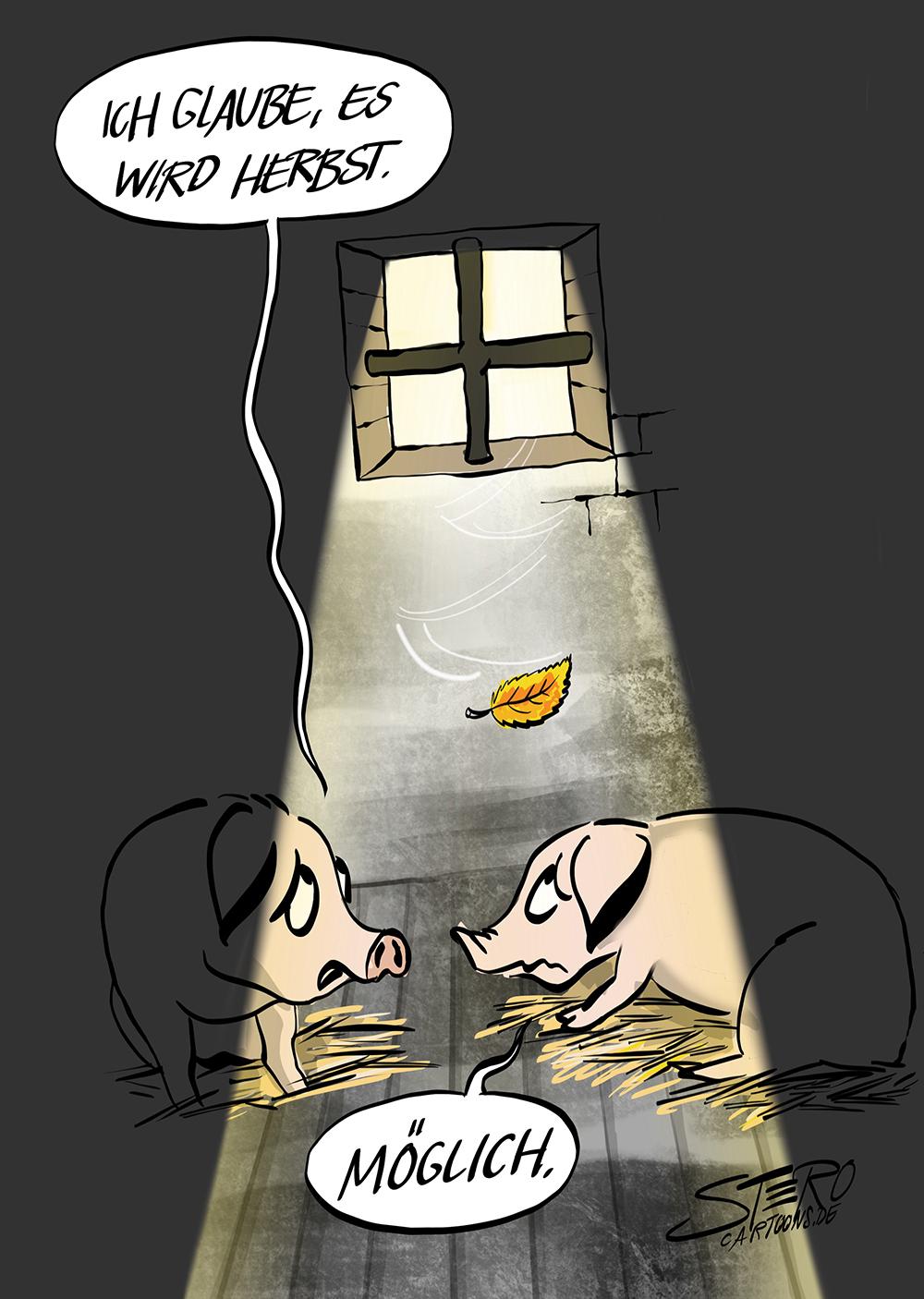 Cartoon-Karikatur. Zwei SChweine in der SChweinemast im Schweinestall mit kleinem Fenster