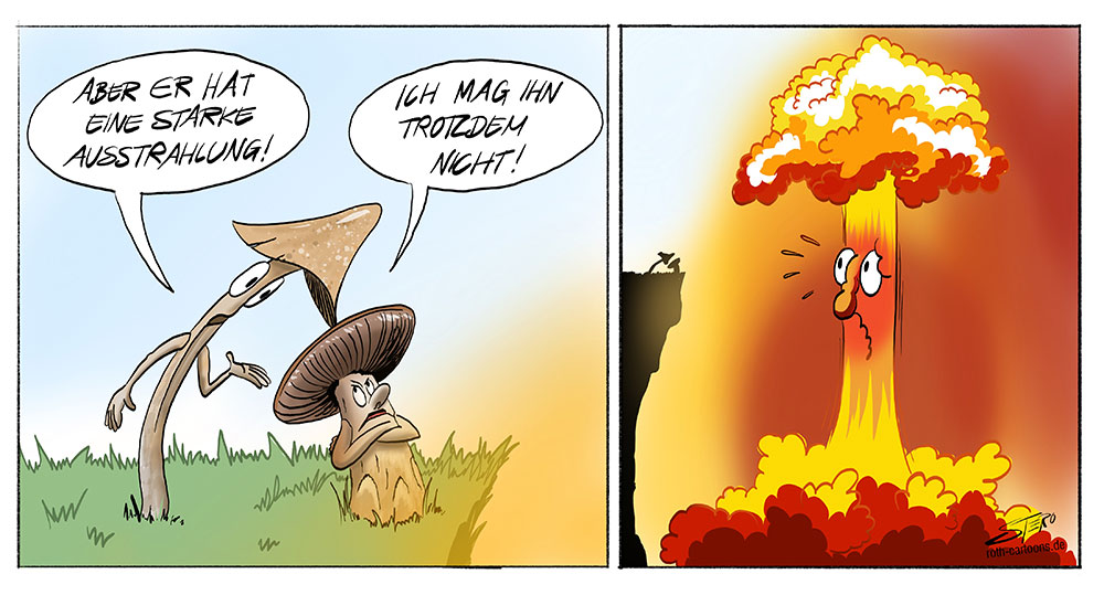 Zwei Pilze unterhalten sich über einen Atompilz