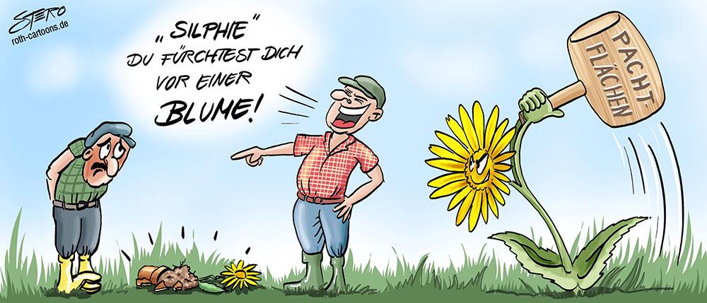 Eine Blume hat dem Bauer mit dem Cartoon: Holzhammer auf den Kopf. Durchwachsene Silphie als Gefährdung  der Pachtflächenpreise und Alternative zum Energiemais.