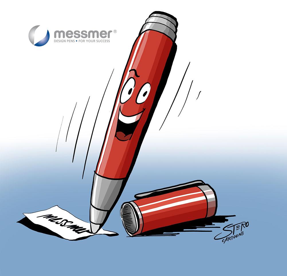 Ein fröhlicher Tintenroller/Kugelschreiber der Firma messmer pen tanzt als Cartoon übers Papaier