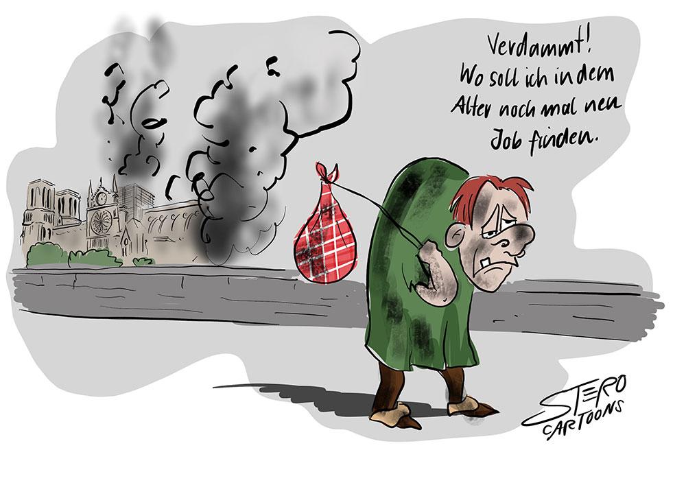 Cartoon-Comic: Der Glöckner von Notre Dame verlässt die Kathedrale nach dem Großen Brand im April 2019.