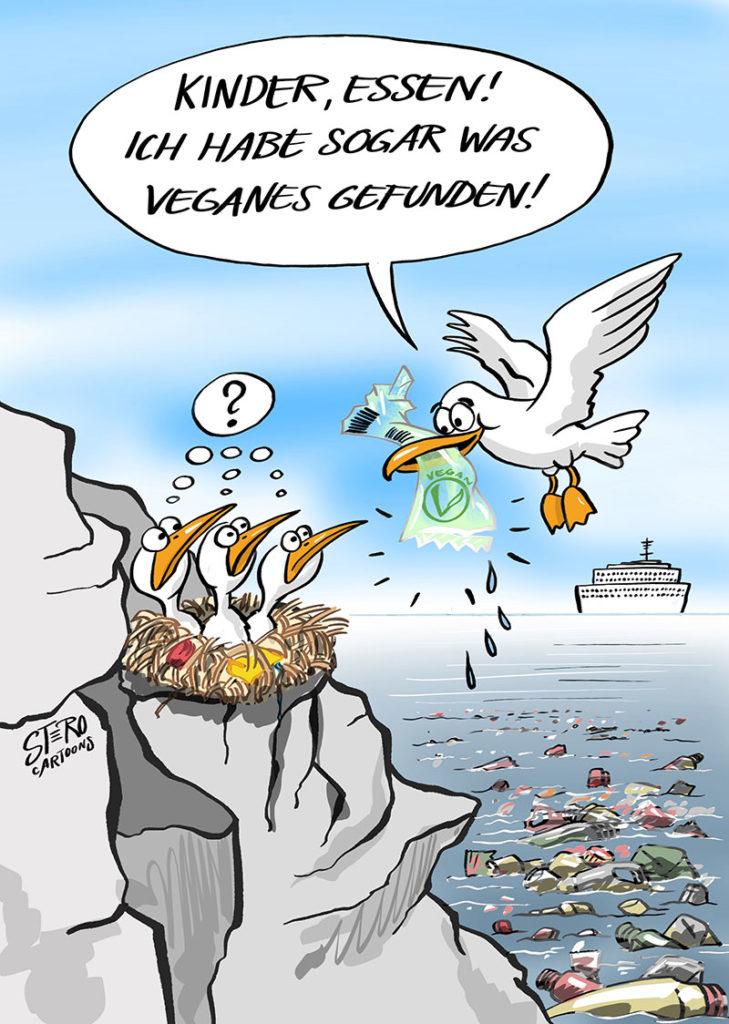 Eine Möwe füttert ihre Jungen mit Müll - Cartoon