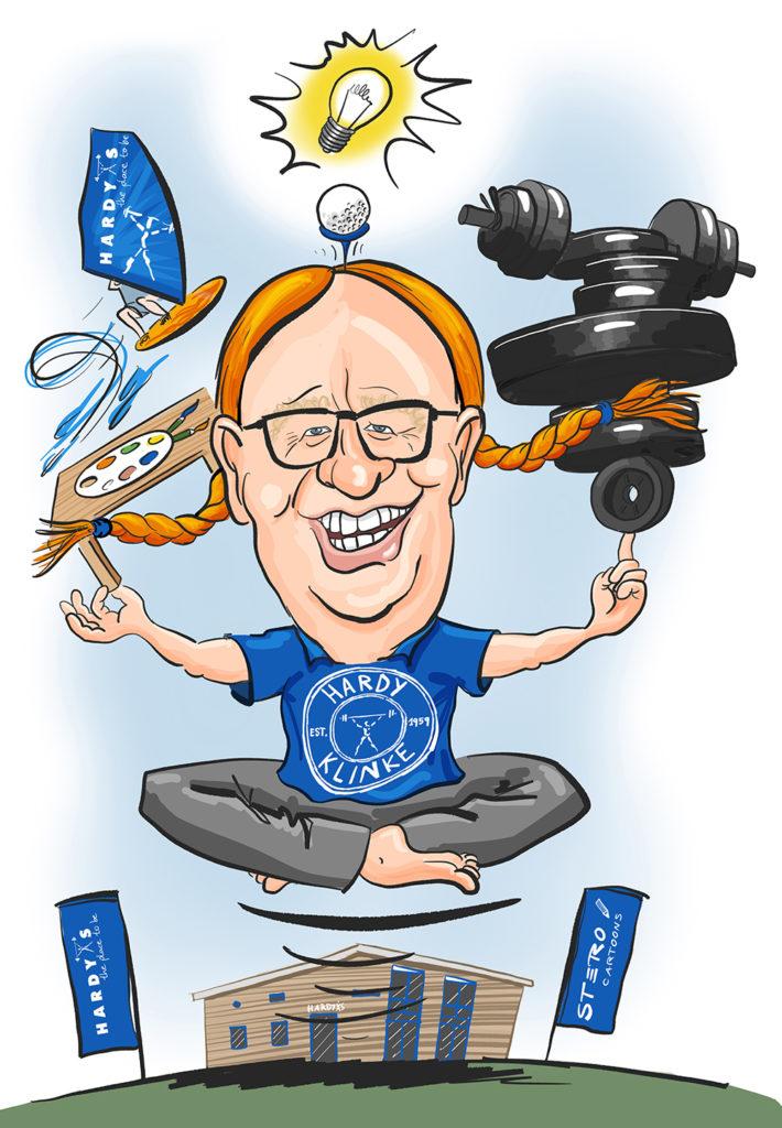 Portraitkarikatur des Eigentümers von Hardy´s Fitnessstudio. DArgestellt als schwebender Yogi mit Ideen und Gewichten.