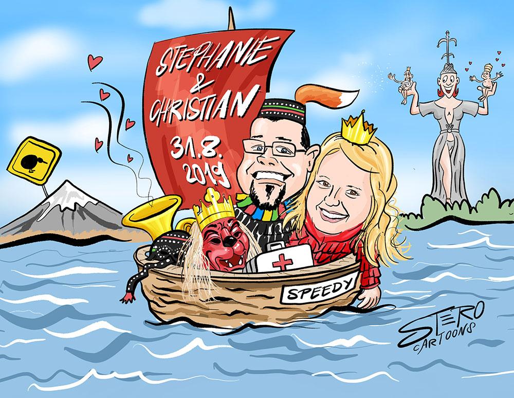 portraitkarikatur-hochzeit-stero-cartoons-comic. Pärchen in einem Segelboot