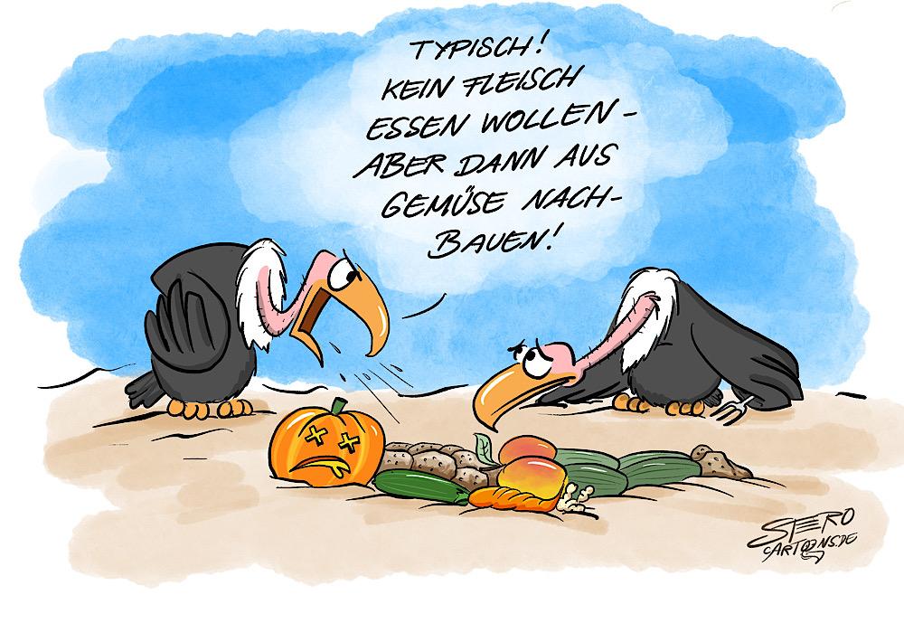 Cartoon-Illustraion-karikatur-comic von zwei Geiern, die Aas fressen wollen. Doch ein Geier ist Vegan und hat sich die Leiche aus Gemüse nachgebaut.