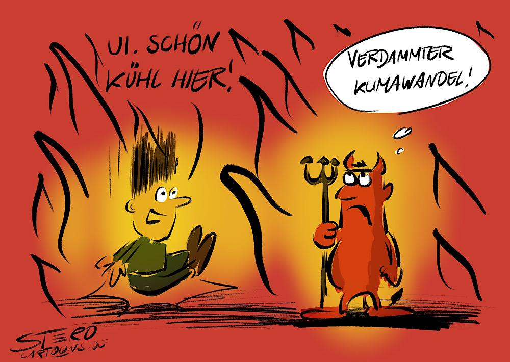 Cartoon karikatur zum klimawandel. Ein mensch kommt in die hölle und freut sich darüber wie kühl es dort ist.