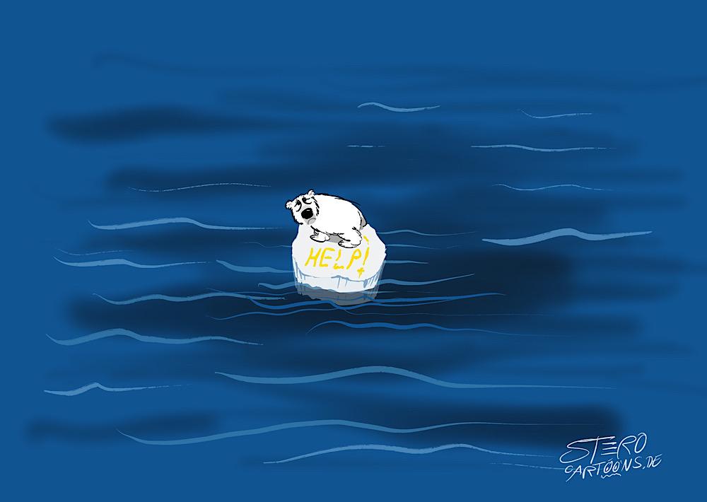 """Cartoon, Illustration-Zur polschmelze und dem klimawandel. Ein Eisbär steht einsam auf einer Eisscholle und hat """"help"""" in den Schnee gepinkelt"""