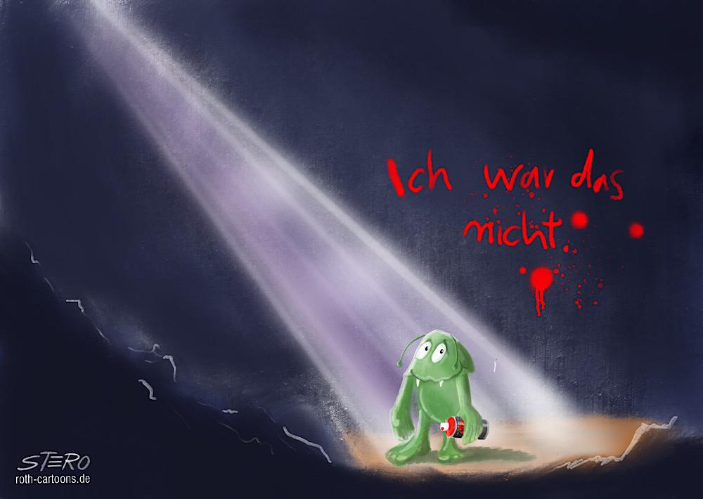 """Illustration eines kleinen grünen monsters das mit graffiti sprühdose """"ich war das nicht"""" an die wand geschrieben hat."""