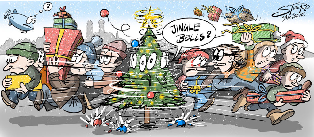 Weihnachtsstress Cartoon