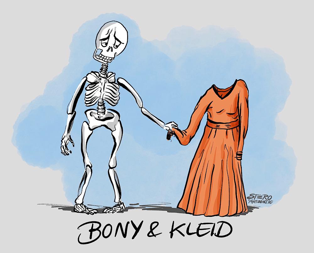 Cartoon-comic bonnie und clyde als wortspiel, dargestellt durch ein skelett und ein frauenkleid.