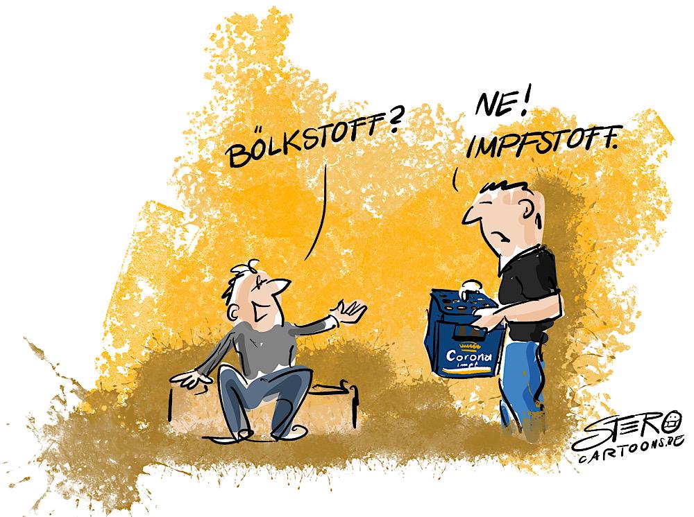 Cartoon Coronavirus Impfstoff Cartoon Comic Karikaturen Illustration Grafik Design