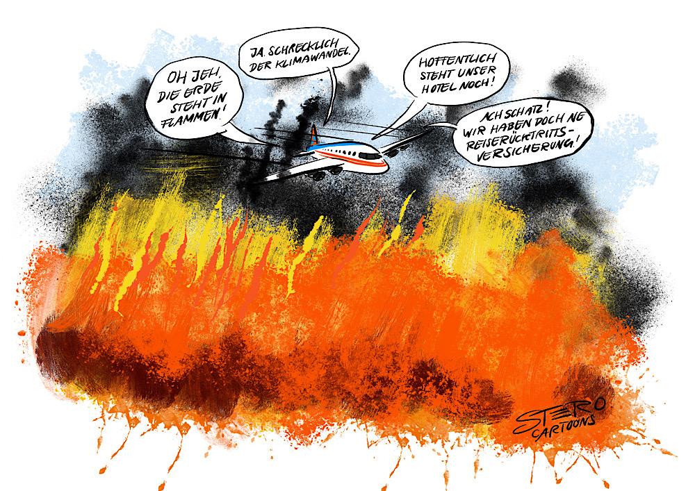Cartoon-comic-illustration-ein flugzeug fliegt über das brennende australien