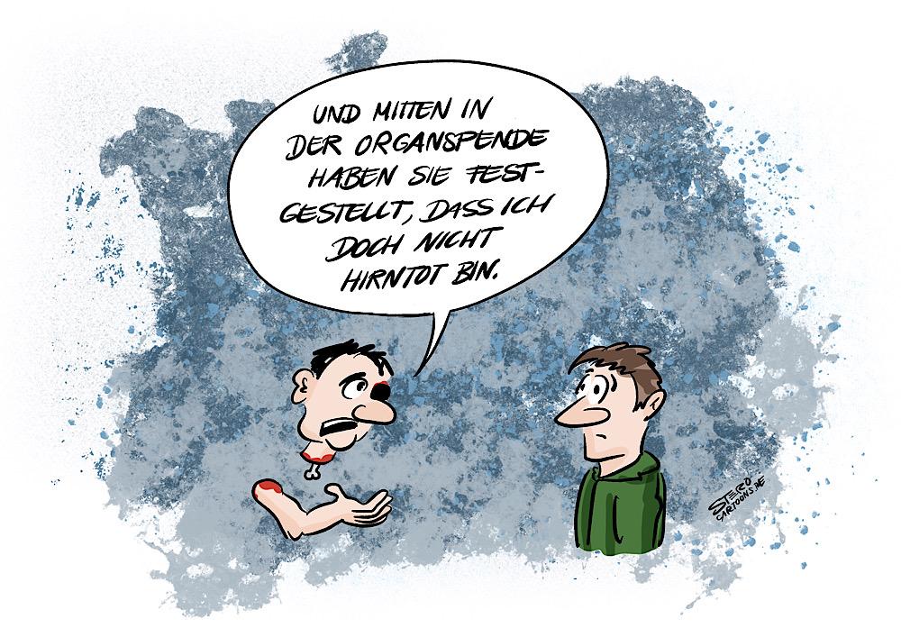 Cartoon comic über hirntod und organspende