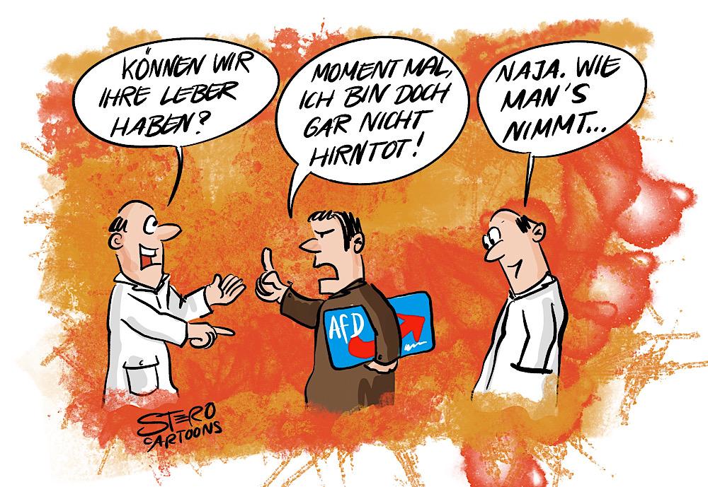 Cartoon-comic: zwei ärzte wollen organspende von afd