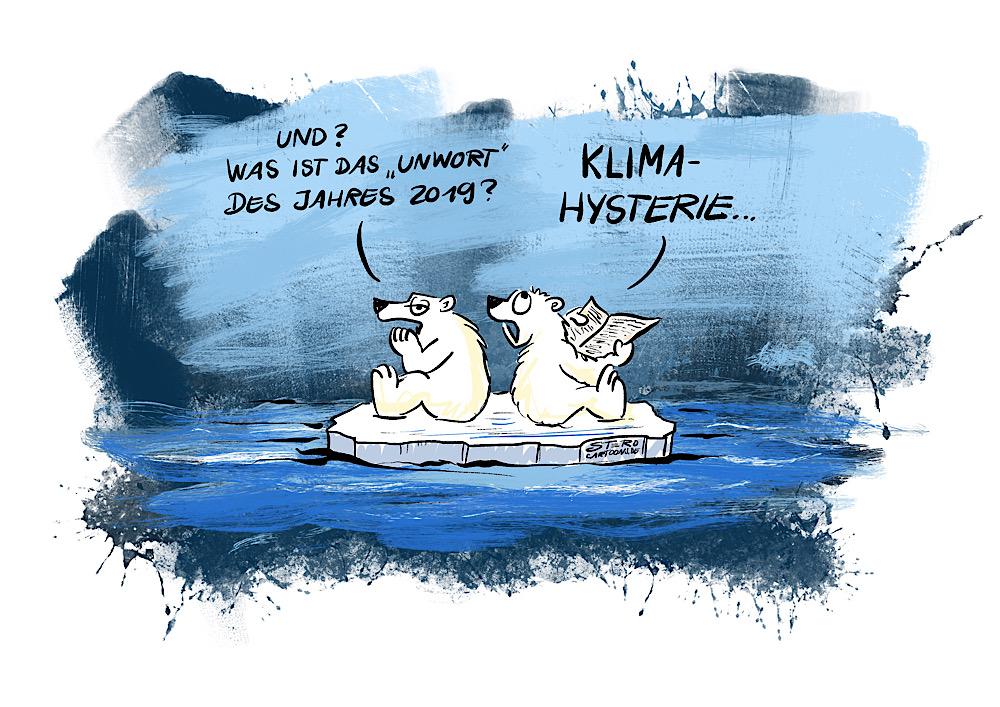 Cartoon-Comic: Zwei Eisären auf einer Eisscholle einsam im Meer reden über das Unwort des Jahres: Klimahysterie