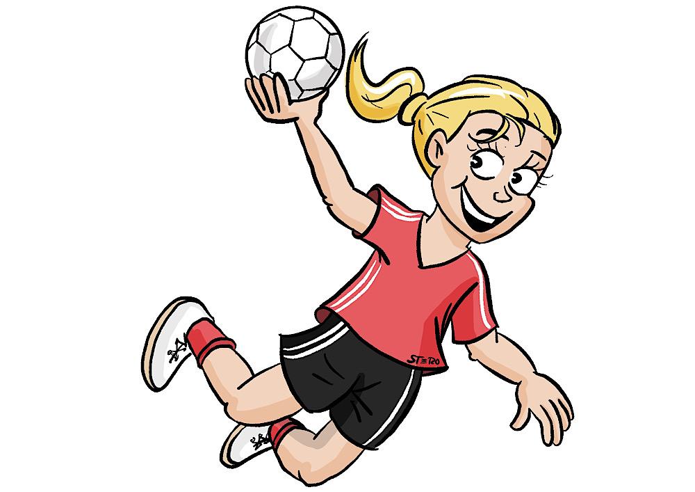 Comic-grafi-mädchenhandball-logo-cartoon