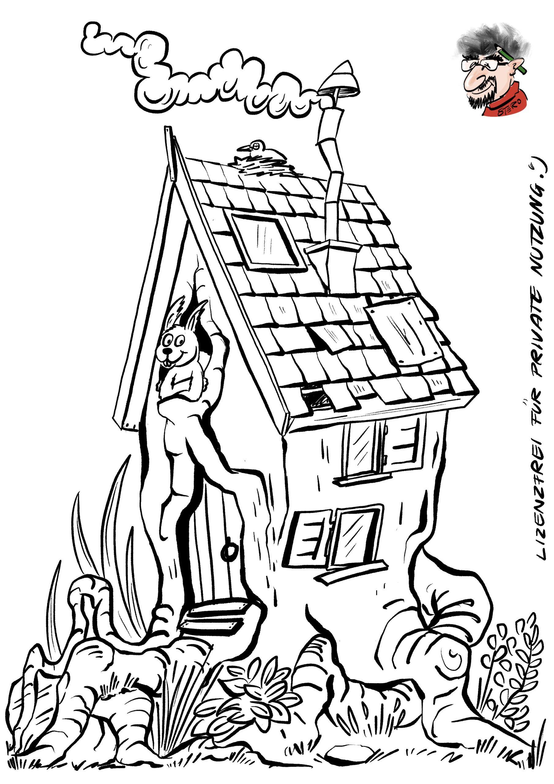 cartoon-karikatur-Ausmalbild Baumhaus - Roth-Cartoons (DE)