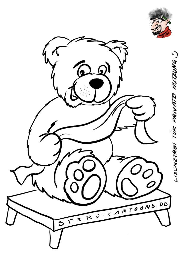 Ausmalbild-Teddybaer-cartoon-comic