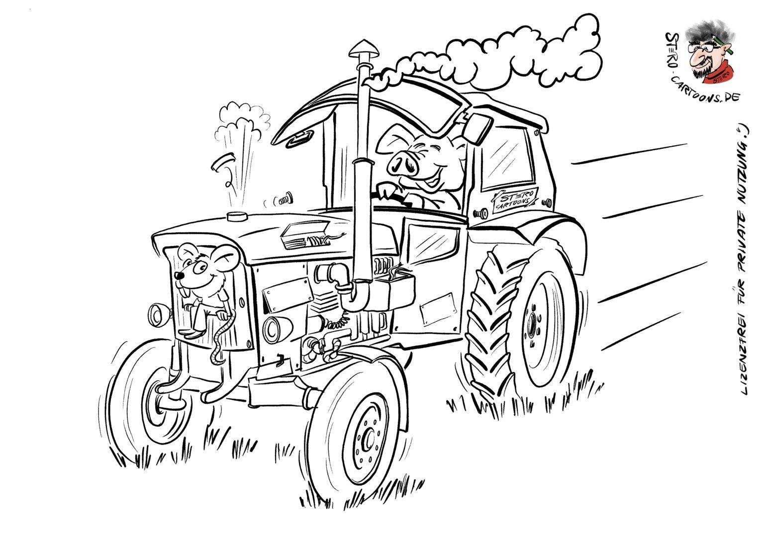 cartoonkarikaturausmalbild traktor cartoon  roth