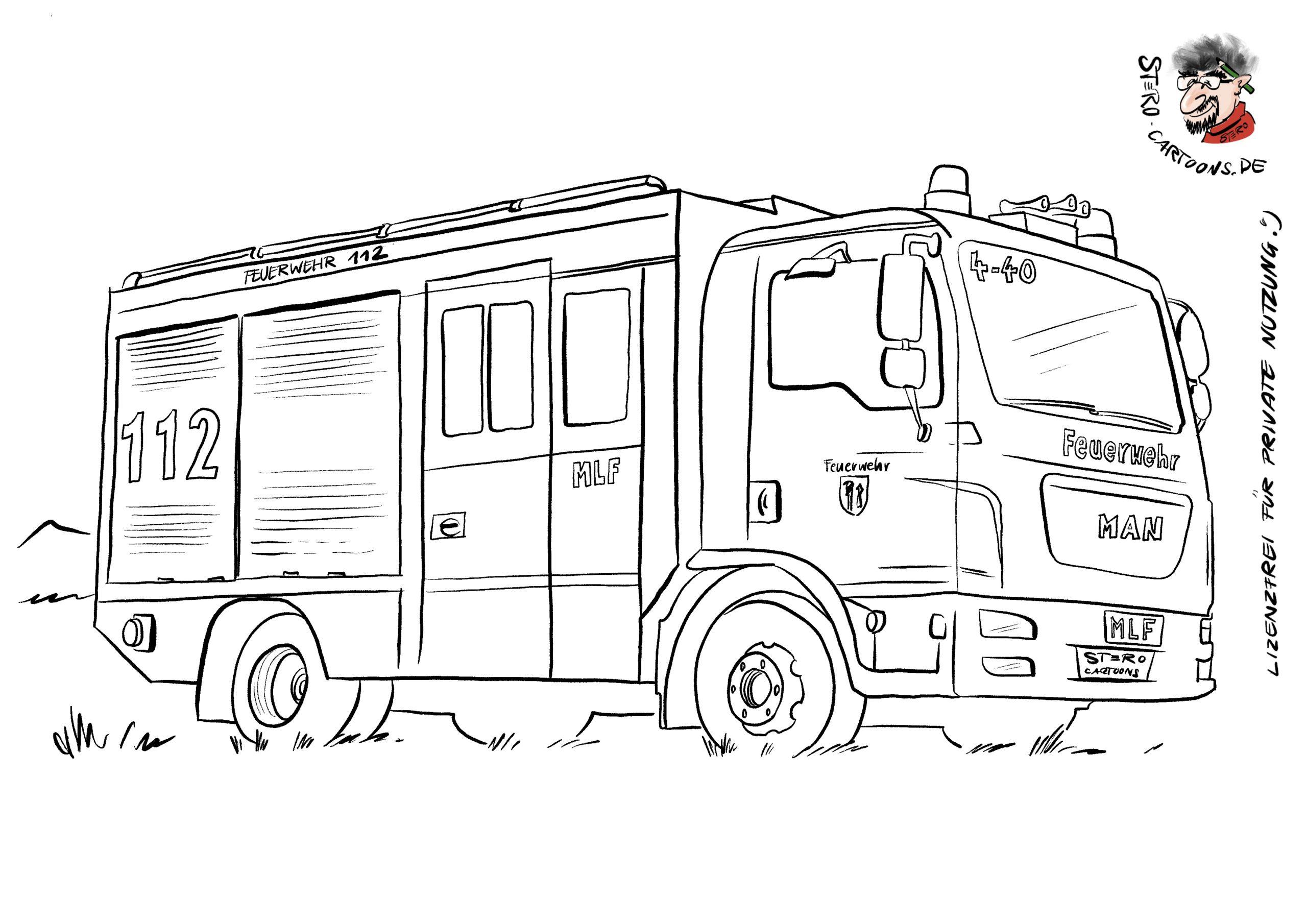 cartoon-karikatur-Ausmalbild Malvorlage Feuerwehrauto - Roth