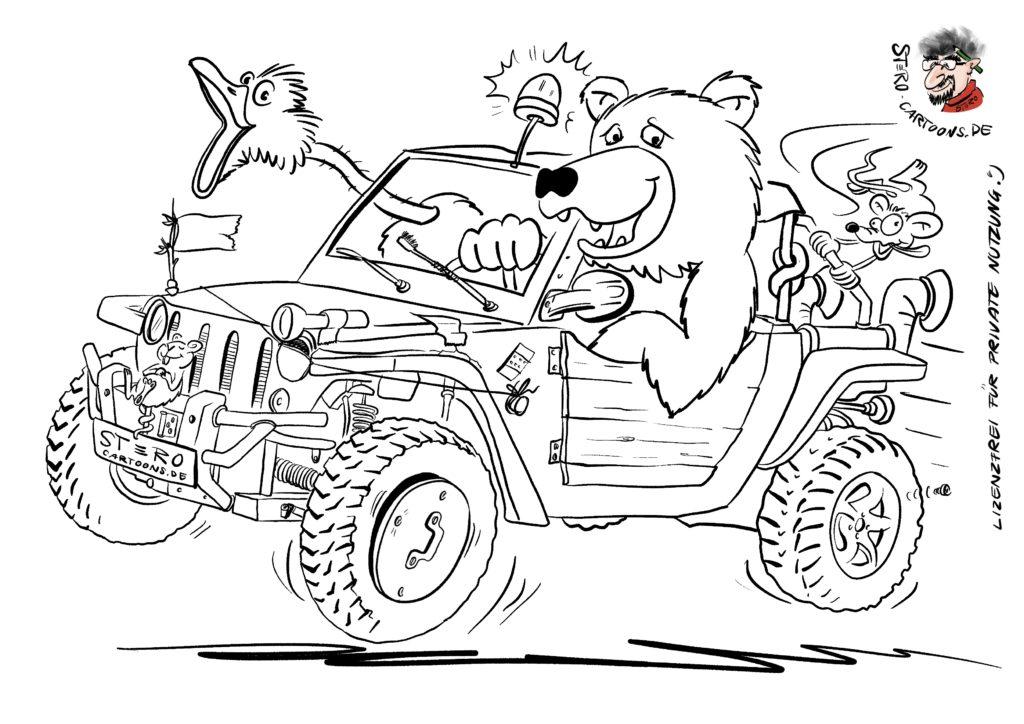 Malvorlage cartoon comic ausmalbild strandbuggy lustig mit bär als fahrer