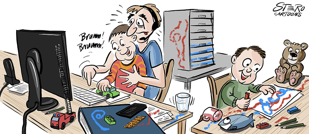 Cartoon-Comic-Homeoffice: Ein Vater sitzt mit seinen zwei Kleinen Kindern im Home-Office und versucht zu arbeiten.