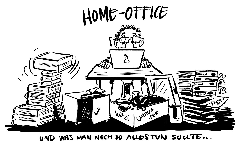 Cartoon Comic mein Mann sitzt vor einem Laptop im Home-Office und vor einem die Dinge die er schon immer mal tun wollte oder müsste
