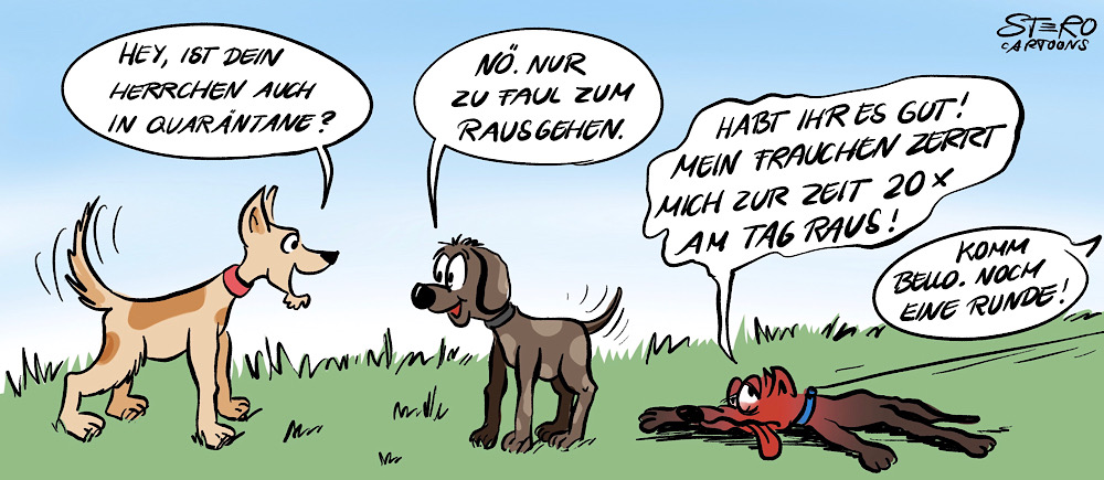 Cartoon zu lockdown wegen Corona und Hunde