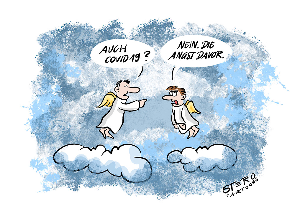 Cartoon comic-Angst vor corona covid19