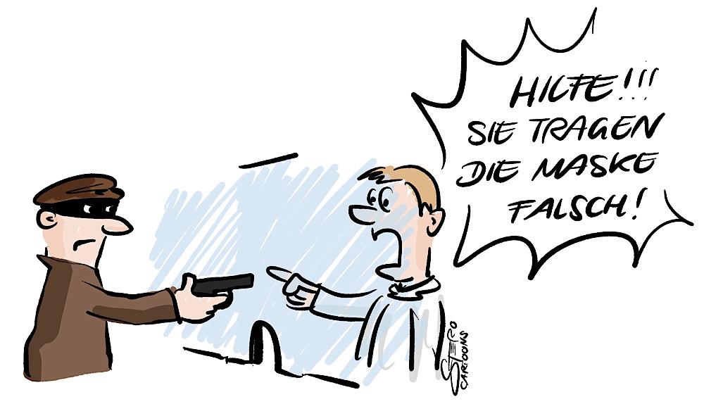 Karikatur Comic ein Räuber bei einem Banküberfall ohne Mundschutz
