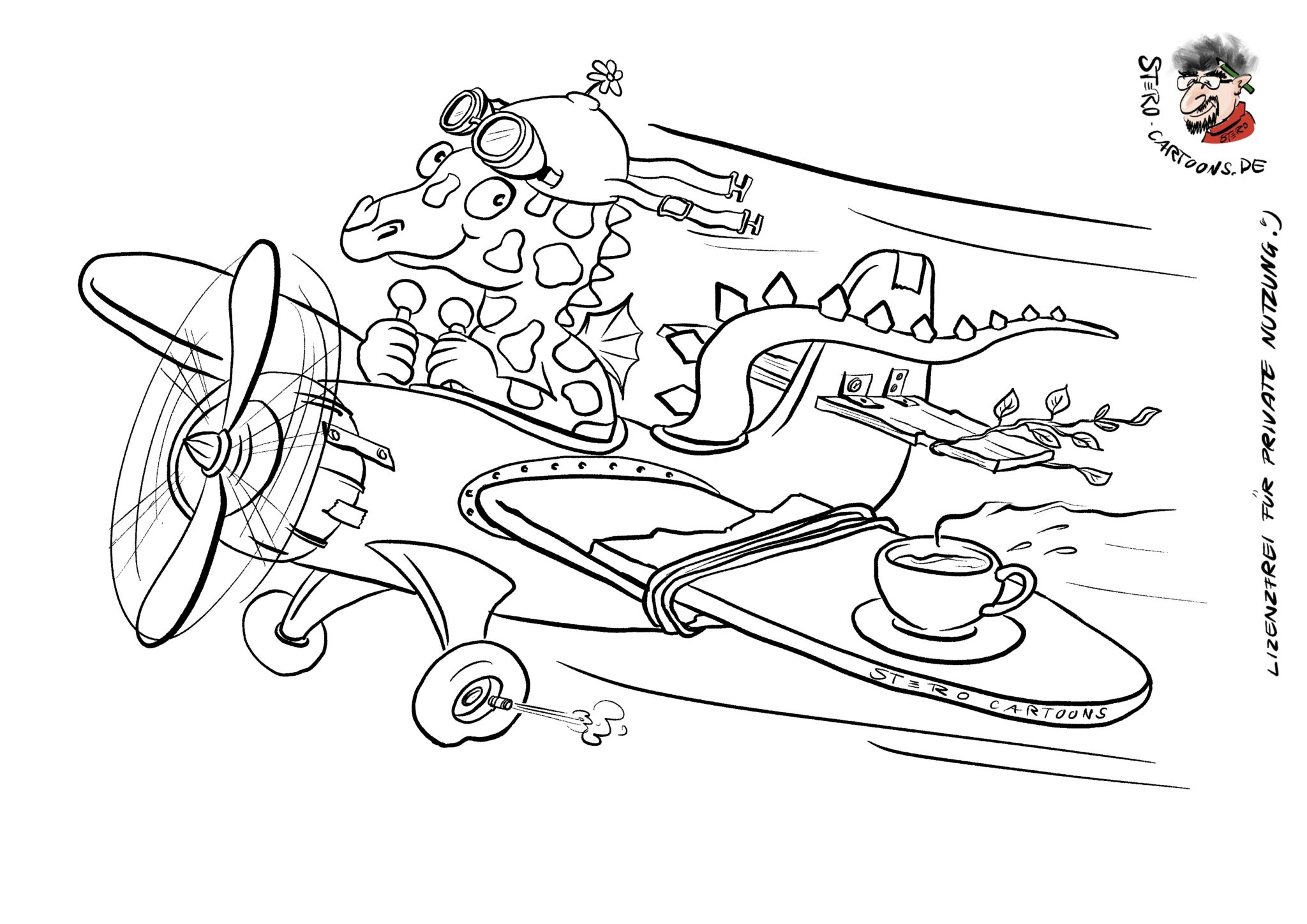malvorlage flugzeug  cartoons comic karikaturen