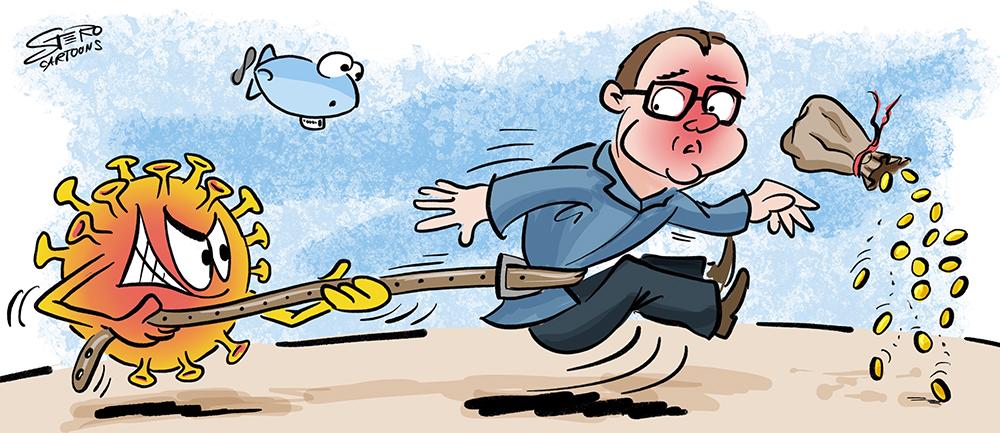 Cartoon-ComicEin Bürgermeister muss seinen Gürtel enger schnallen, da durch Corona Einnahmen in der Gewerbesteuer und Gemeindehaushalt fehlen