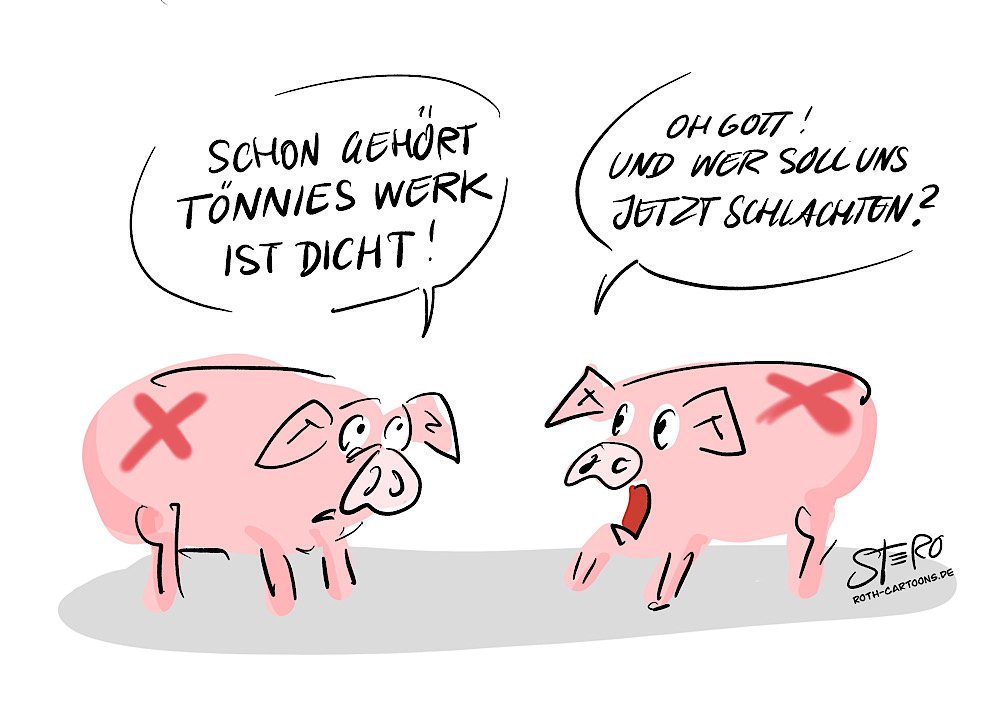 Cartoon-comic:Corona bei tönnies schlachthof