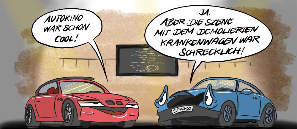 Cartoon-Comic-Karikatur von STERO/Stefan Roth: Zwei Autos unterhalten sich im Autokino wegen Corona und sind entsetzt über  die Zerstörung von Autos in den Filmen.