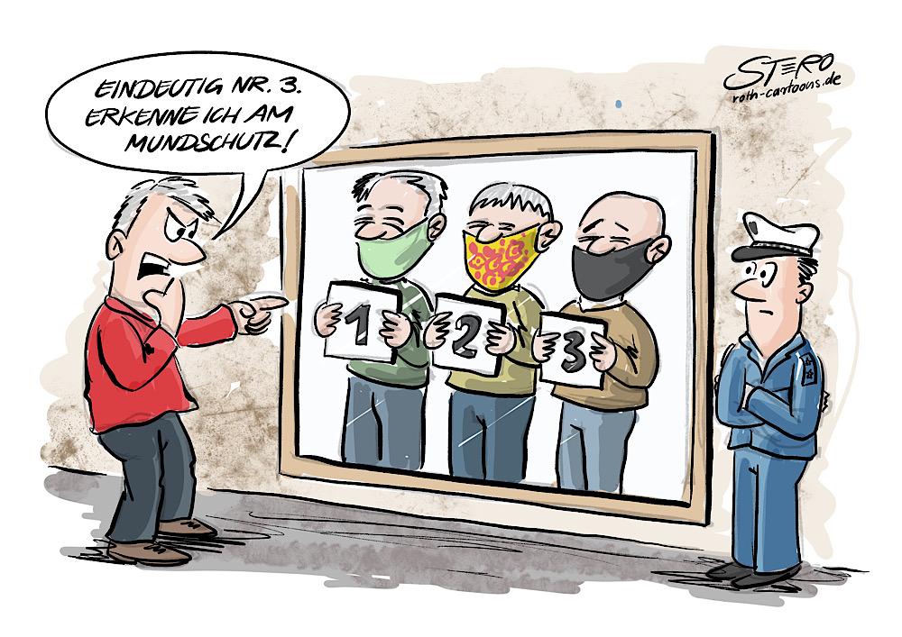 Cartoon-Comic-karikatur-gegenüberstellung bei polizteimitmundschutz