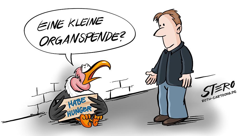 Cartoon comic: geier bettelt um organspende