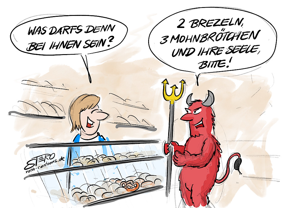 Cartoon-comic-teufel will seele in bäckerei